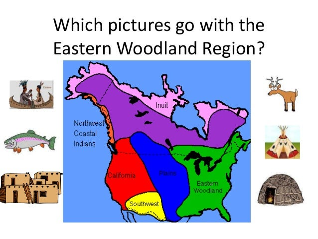 Which pictures go with the Eastern Woodland Region?