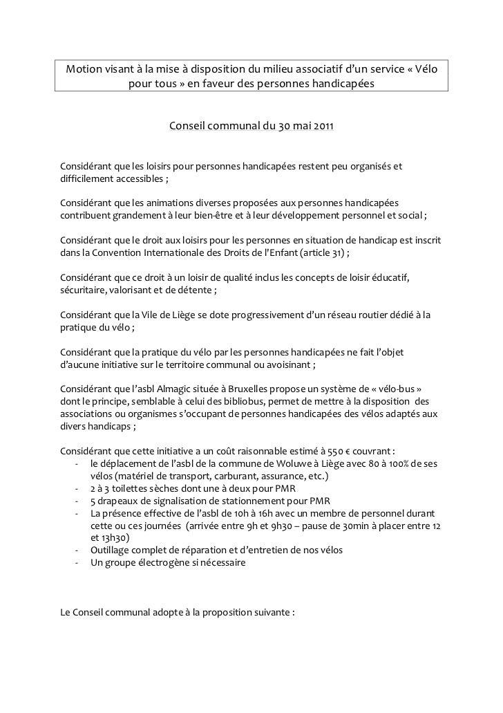 Motion visant à la mise à disposition du milieu associatif d'un service « Vélo             pour tous » en faveur des perso...
