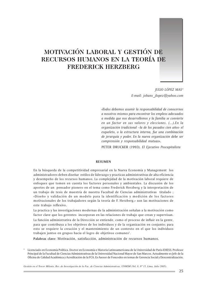 MOTIVACIÓN LABORAL Y GESTIÓN DE                 RECURSOS HUMANOS EN LA TEORÍA DE                        FREDERICK HERZBERG...