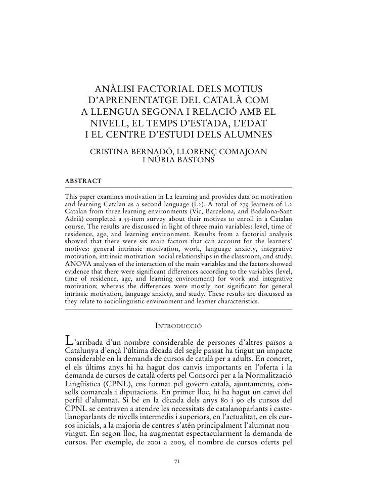 ANÀLISI FACTORIAL DELS MOTIUS       D'APRENENTATGE DEL CATALÀ COM     A LLENGUA SEGONA I RELACIÓ AMB EL        NIVELL, EL ...