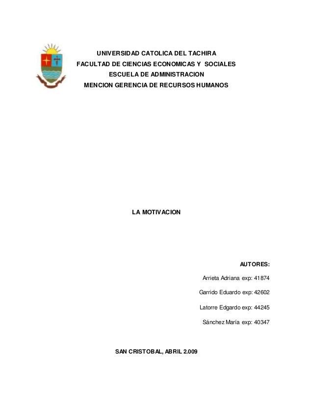 UNIVERSIDAD CATOLICA DEL TACHIRA FACULTAD DE CIENCIAS ECONOMICAS Y SOCIALES ESCUELA DE ADMINISTRACION MENCION GERENCIA DE ...