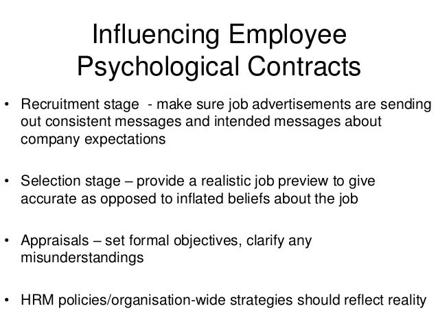psychological contract employees Psychological contracts at design fabrications for the past five years, employees of design fabrications have been allowed to leave work early every.