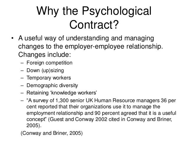 psychological contract essay Below is an essay on the psychological contract from anti essays, your source for research papers, essays, and term paper examples outline and critically evaluate the concept of the 'psychological contract' why is an understanding of the psychological contract important to the management of the contemporary employment relationship.