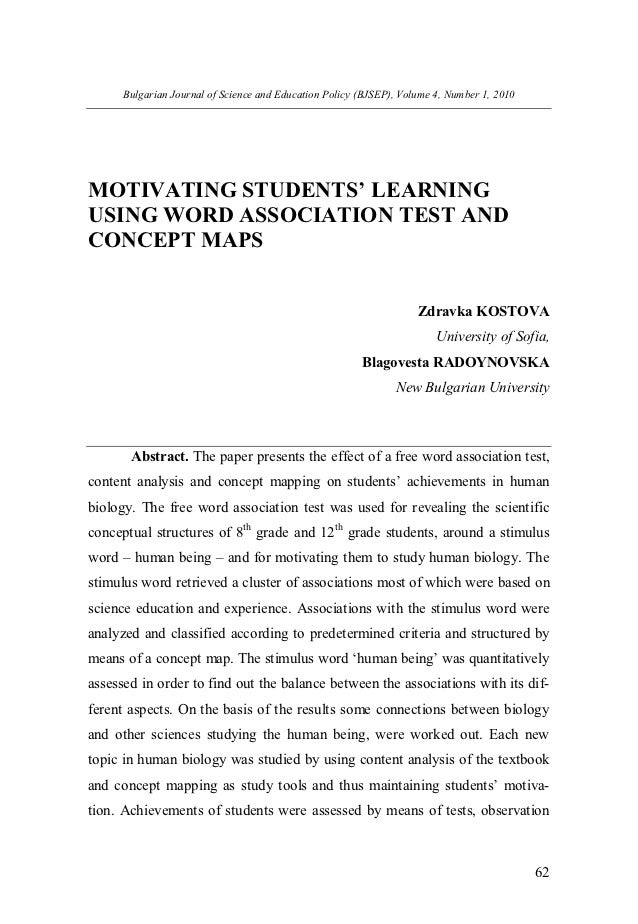 Motivating students' learning using word association test and concept maps