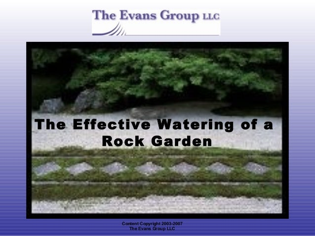 The Effective Watering of a       Rock Garden         Content Copyright 2003-2007            The Evans Group LLC