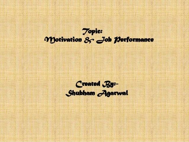 Motivation & job performance