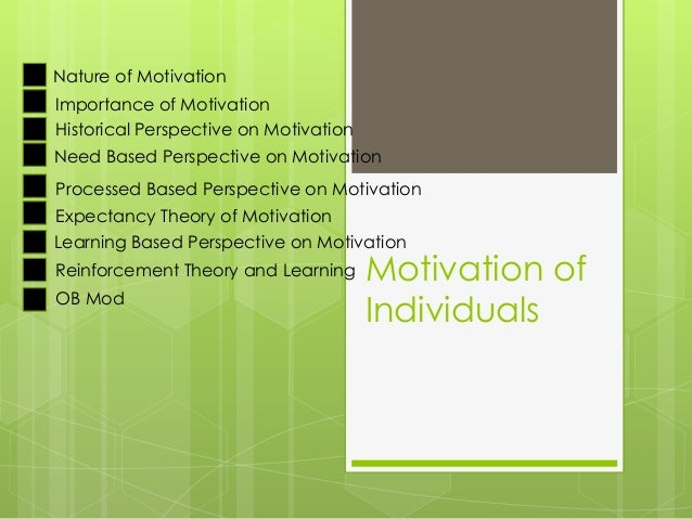 Motivation of Individuals Nature of Motivation Importance of Motivation Historical Perspective on Motivation Need Based Pe...