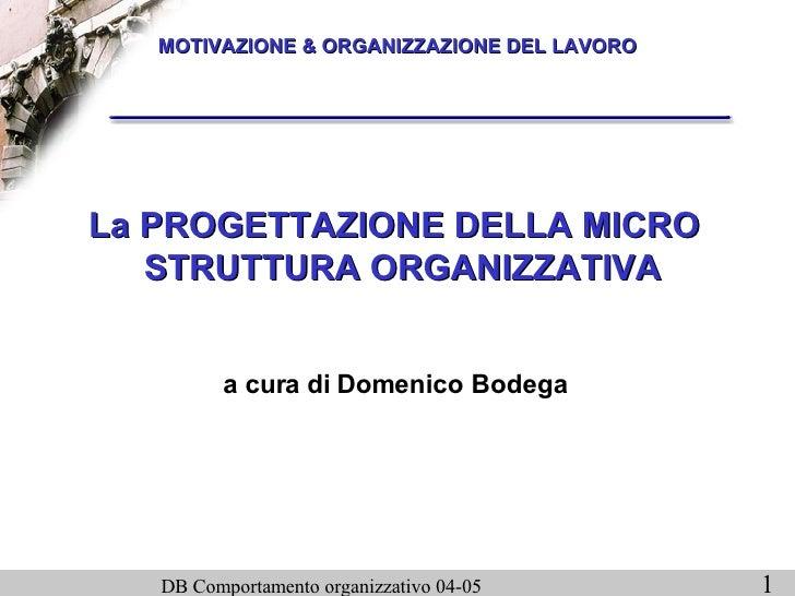 MOTIVAZIONE & ORGANIZZAZIONE DEL LAVORO La PROGETTAZIONE DELLA MICRO STRUTTURA ORGANIZZATIVA a cura di Domenico Bodega