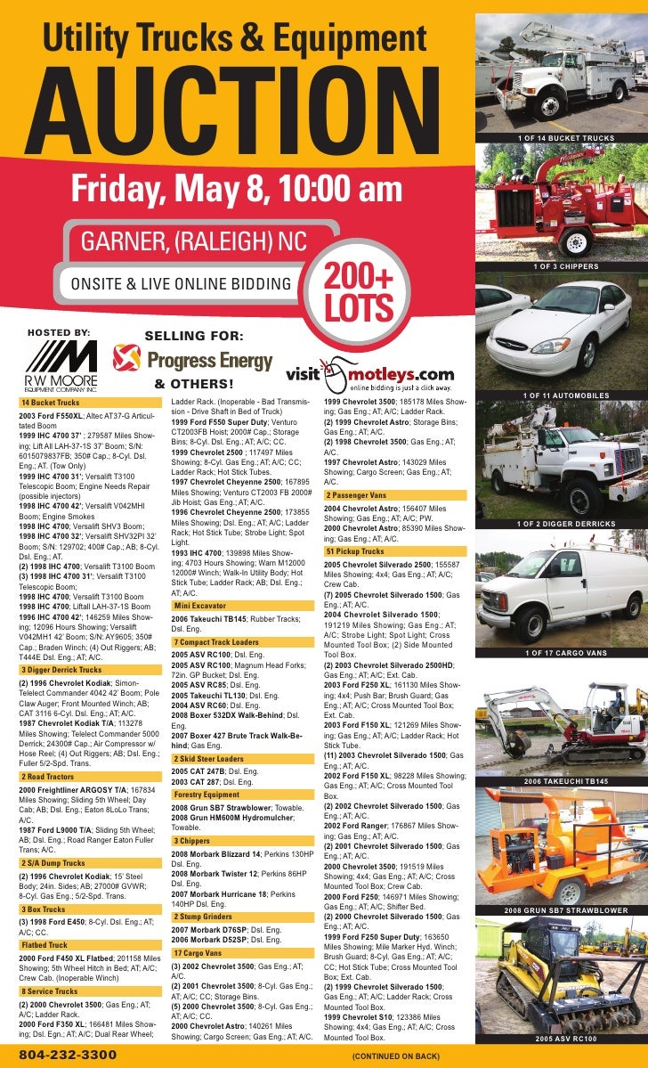 Utility Trucks & Equipment   AUCTION        Friday, May 8, 10:00 am                                                       ...