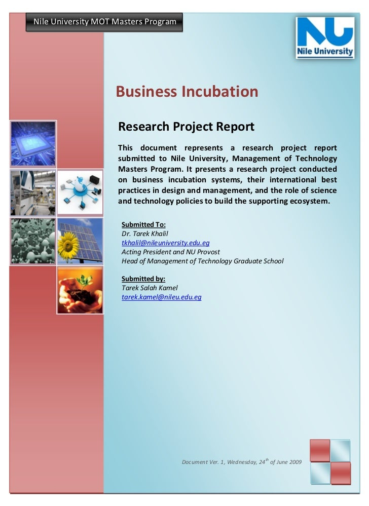 Nile University MOT Masters Program                   Business Incubation                    Research Project Report      ...