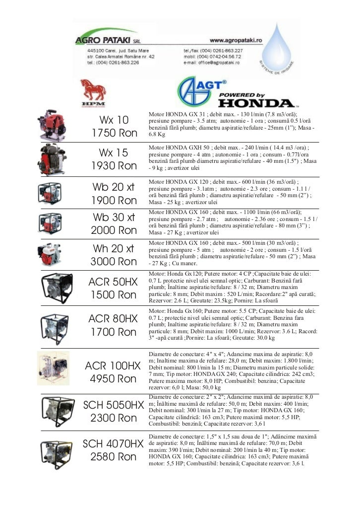 Motor HONDA GX 31 ; debit max. - 130 l/min (7.8 m3/orã);  Wx 10      presiune pompare - 3.5 atm; autonomie - 1 ora ; consu...