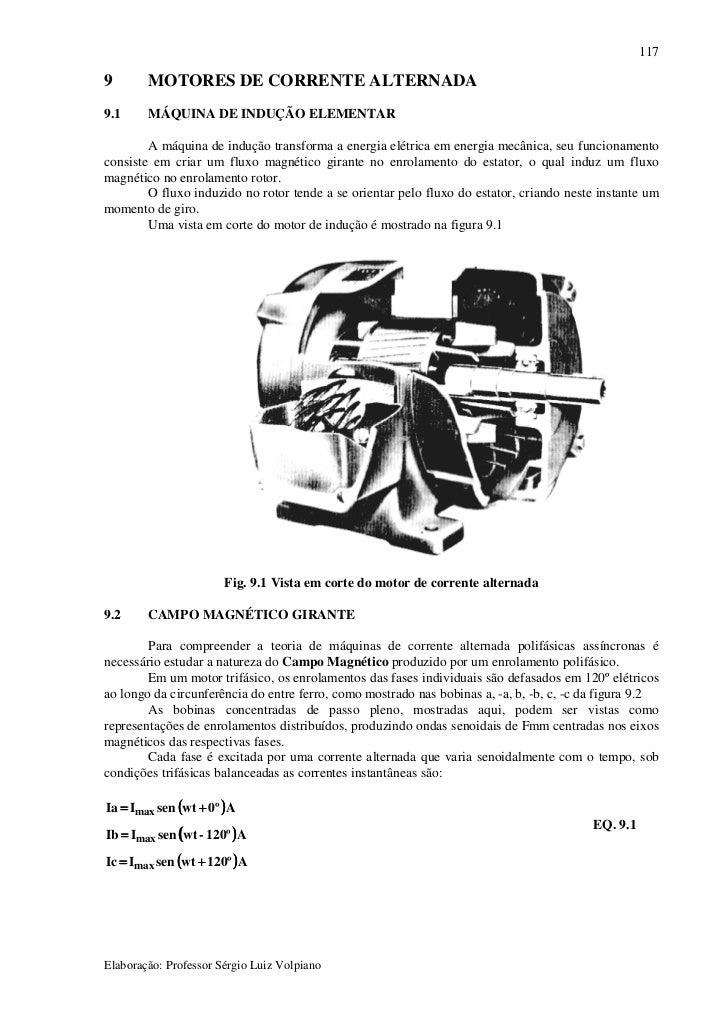 117  9       MOTORES DE CORRENTE ALTERNADA 9.1     MÁQUINA DE INDUÇÃO ELEMENTAR          A máquina de indução transforma a...