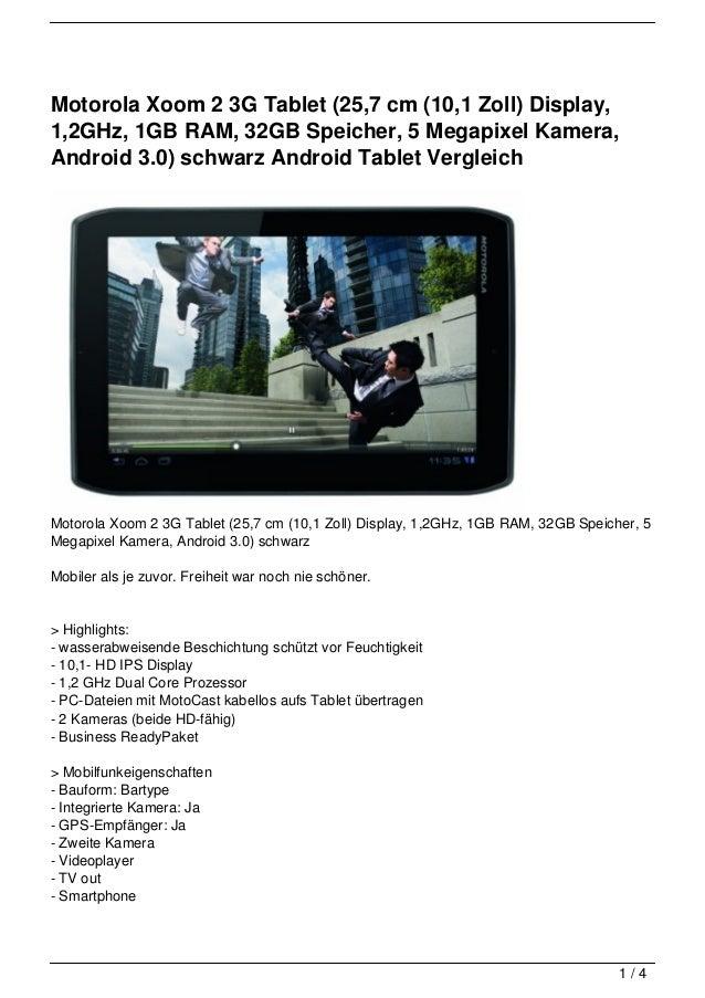 Motorola Xoom 2 3G Tablet (25,7 cm (10,1 Zoll) Display,1,2GHz, 1GB RAM, 32GB Speicher, 5 Megapixel Kamera,Android 3.0) sch...
