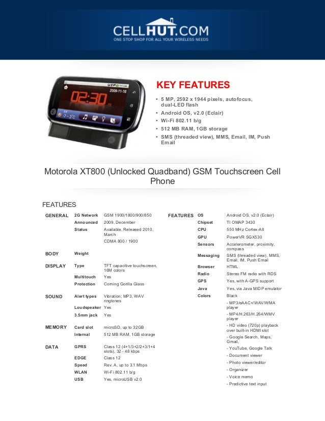 Motorola XT800 GSM Touchscreen Cell Phone-features-specification-at cellhut