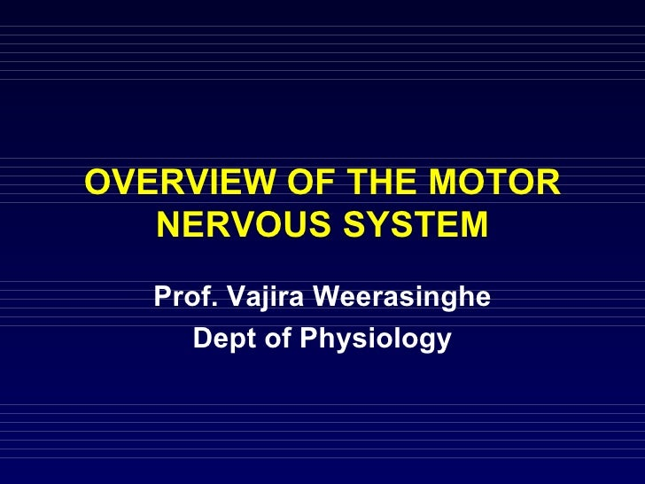 OVERVIEW OF THE MOTOR NERVOUS SYSTEM Prof. Vajira Weerasinghe Dept of Physiology