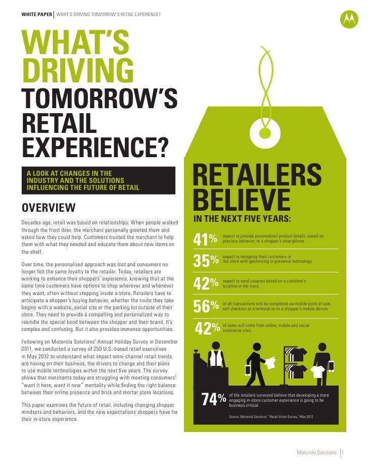 WHITE PAPER WHAT'S DRIVING TOMORROW'S RETAIL EXPERIENCE?WHAT'SDRIVINGTOMORROW'SRETAILEXPERIENCE?  A LOOK AT CHANGES IN THE...