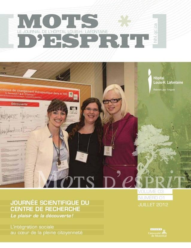 hlhl.qc.ca  Le journal de l'Hôpital Louis-H. Lafontaine                                                volume 03          ...