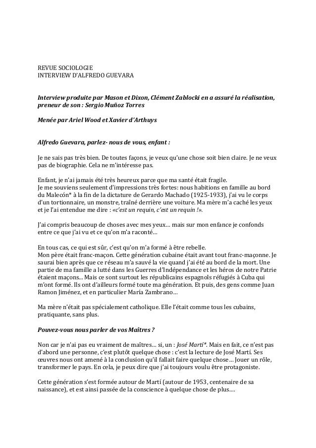 REVUE SOCIOLOGIE INTERVIEW D'ALFREDO GUEVARA   Interview produite par Mason et Dix...
