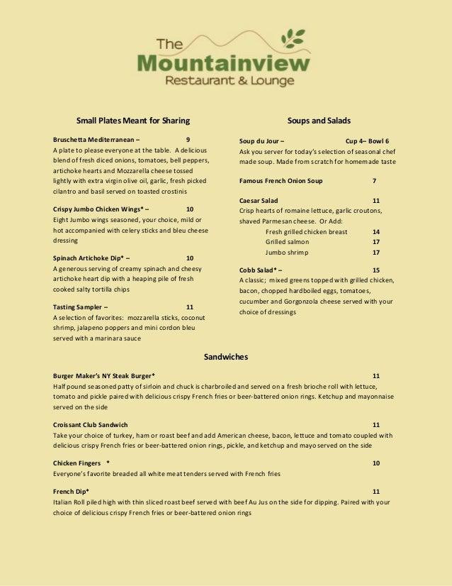 Small Plates Meant for Sharing                                           Soups and SaladsBruschetta Mediterranean –       ...
