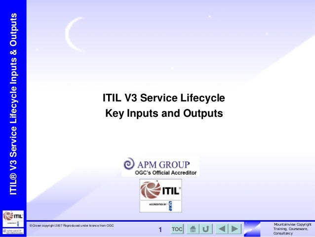 ITIL® V3 Service Lifecycle Inputs & Outputs  ITIL V3 Service Lifecycle Key Inputs and Outputs  © Crown copyright 2007 Repr...
