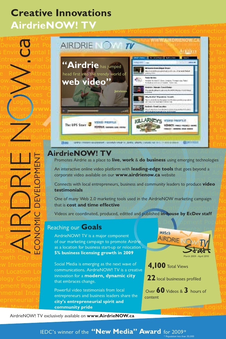 """Creative Innovations AirdrieNOW! TV                                           """"Airdrie has jumped                         ..."""