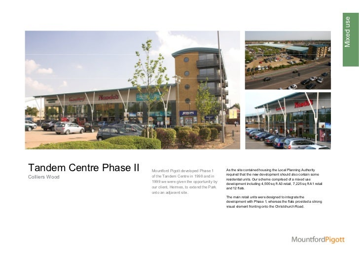 Mixed useTandem Centre Phase II   Mountford Pigott developed Phase 1       As the site contained housing the Local Plannin...