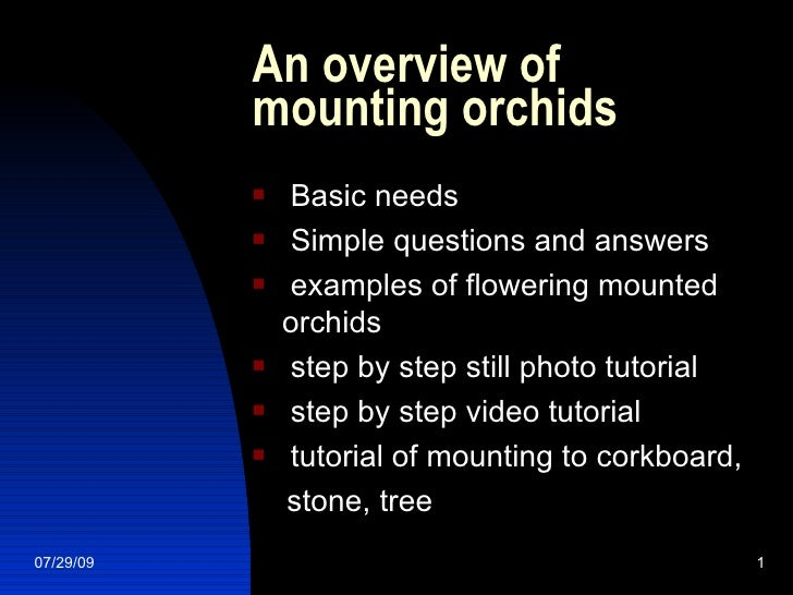 An overview of mounting orchids <ul><li>Basic needs </li></ul><ul><li>Simple questions and answers </li></ul><ul><li>examp...