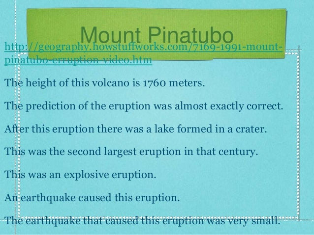 the mount pinatubo case study Introduction in 1991, march 15th, villagers on the northwestern side of the volcano reported that they had felt earthquakes and tremors happening beneath their town.