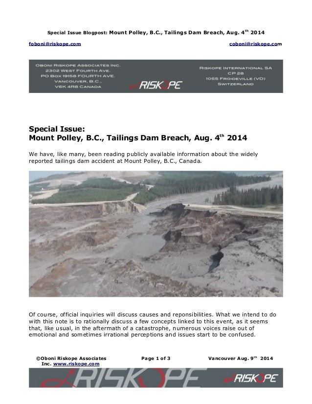 Special Issue Blogpost: Mount Polley, B.C., Tailings Dam Breach, Aug. 4th 2014 foboni@riskope.com coboni@riskope.com Speci...