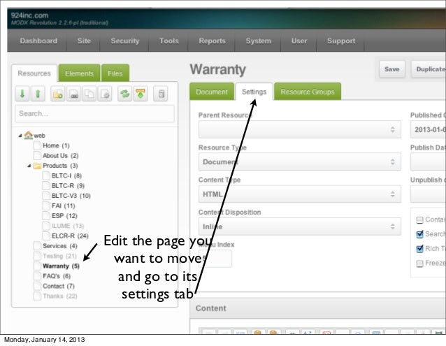 How to move a page in MODX Revo