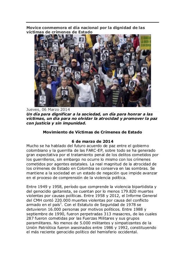Movice conmemora el día nacional por la dignidad de las víctimas de crímenes de Estado