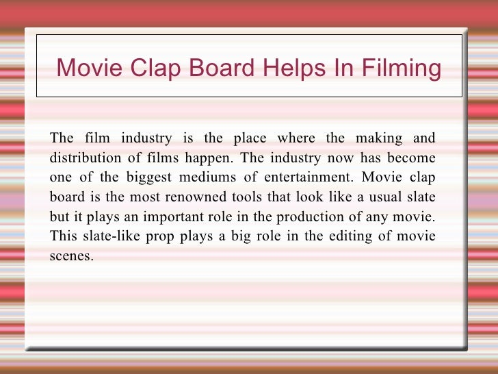 Movie clap board helps in filming