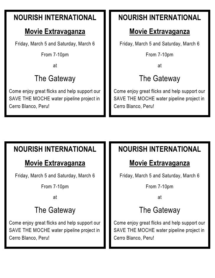 NOURISH INTERNATIONALMovie ExtravaganzaFriday, March 5 and Saturday, March 6From 7-10pmatThe GatewayCome enjoy great flick...