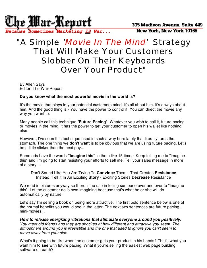 """A Simple 'Movie In The Mind' Strategy     That Will Make Your Customers      Slobber On Their Keyboards           Over Yo..."