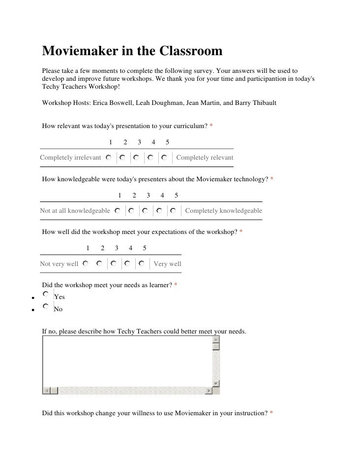 Moviemaker in the Classroom<br />Please take a few moments to complete the following survey. Your answers will be used to ...