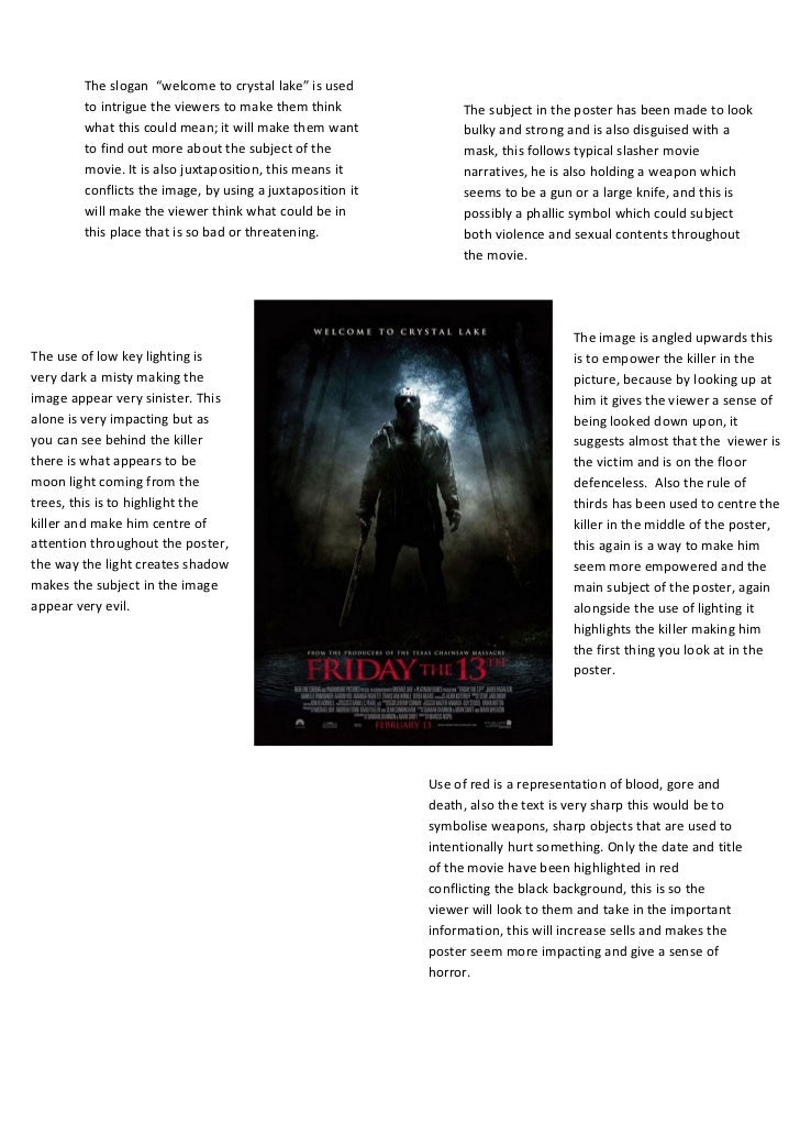 """The slogan """"welcome to crystal lake"""" is used        to intrigue the viewers to make them think              The subject in..."""