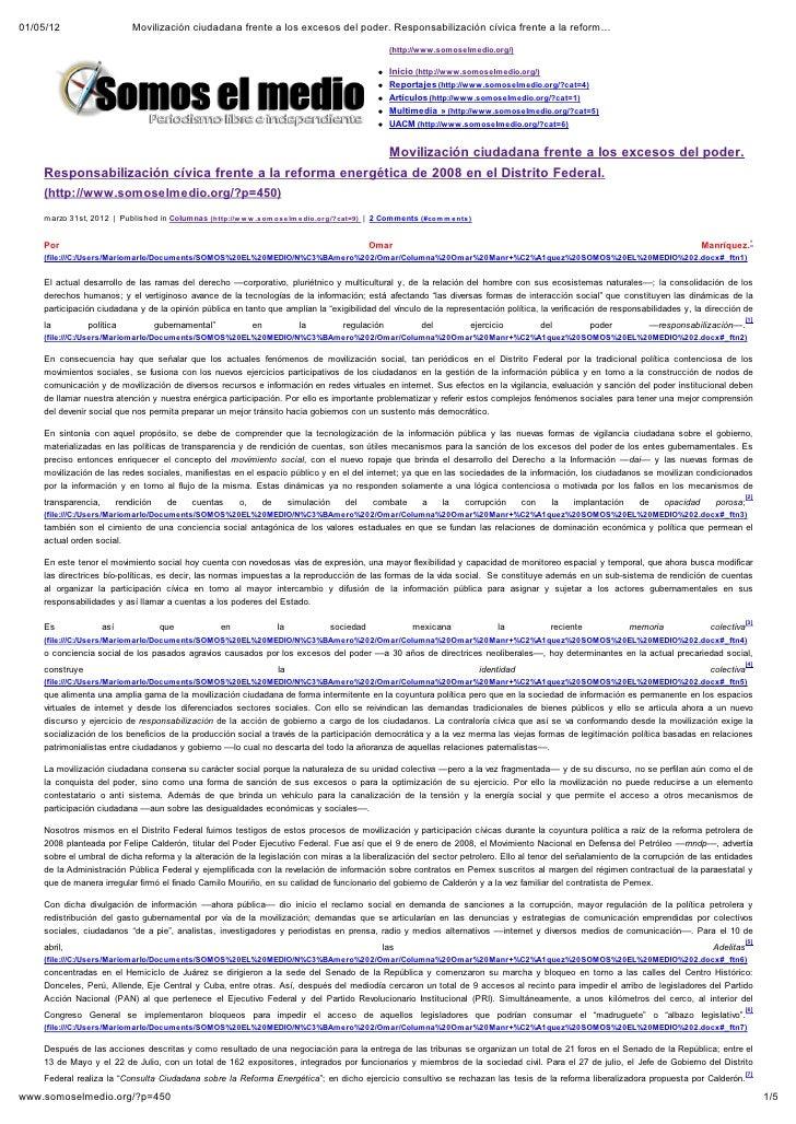 01/05/12                       Movilización ciudadana frente a los excesos del poder. Responsabilización cívica frente a l...
