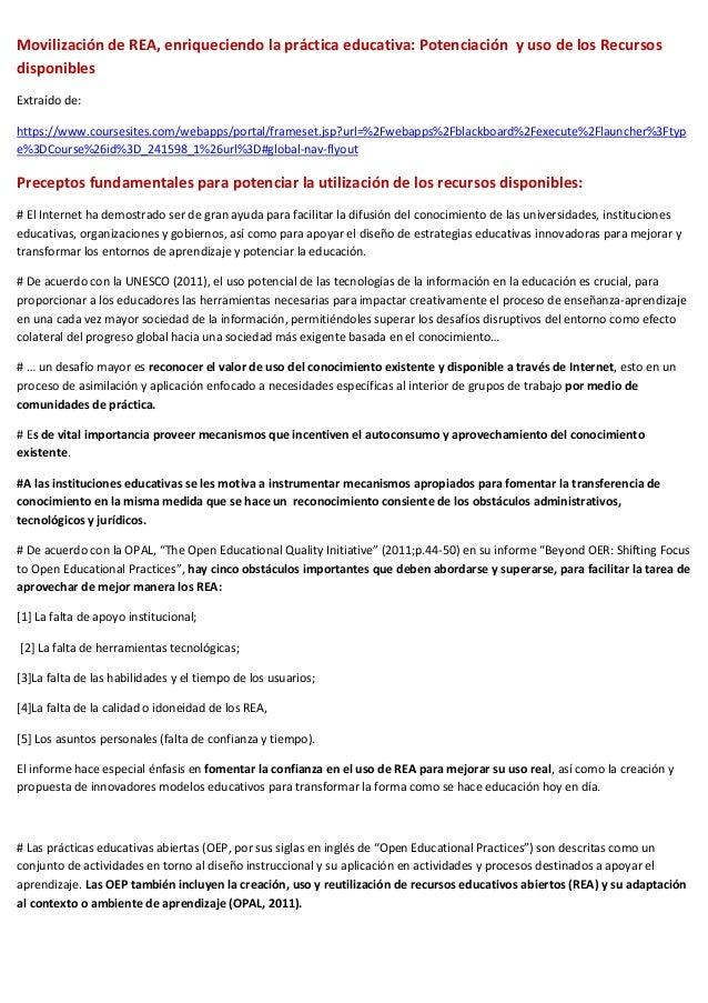 Movilización de REA, enriqueciendo la práctica educativa: Potenciación y uso de los RecursosdisponiblesExtraído de:https:/...