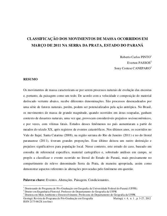 Geoingá: Revista do Programa de Pós-Graduação em Geografia Maringá, v. 4, n. 1 , p. 3-27, 2012 ISSN 2175-862X (on-line) CL...