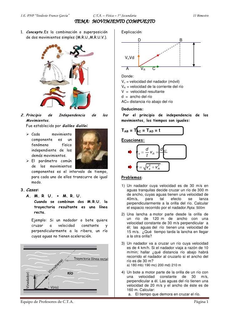 """I.E. PNP """"Teodosio Franco Garcia""""         C.T.A. – Física – 5° Secundaria                                II Bimestre      ..."""