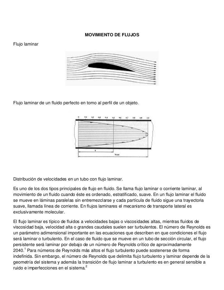 MOVIMIENTO DE FLUJOSFlujo laminarFlujo laminar de un fluido perfecto en torno al perfil de un objeto.Distribución de veloc...