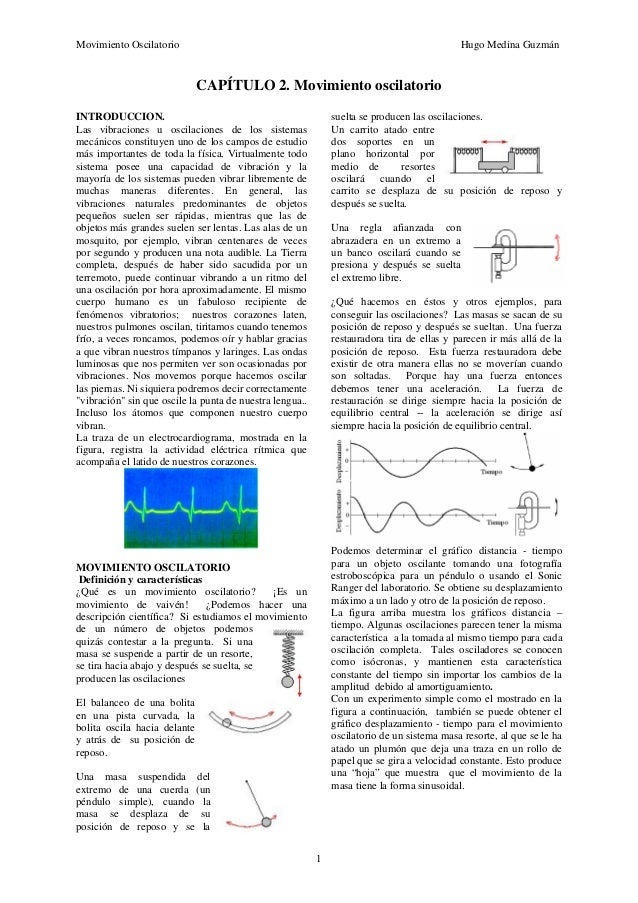 Movimiento Oscilatorio Hugo Medina Guzmán 1 CAPÍTULO 2. Movimiento oscilatorio INTRODUCCION. Las vibraciones u oscilacione...