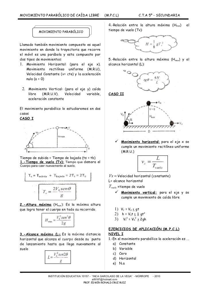 MOVIMIENTO PARABÓLICO DE CAÍDA LIBRE                   (M.P.C.L)              C.T.A 5º - SECUNDARIA                       ...
