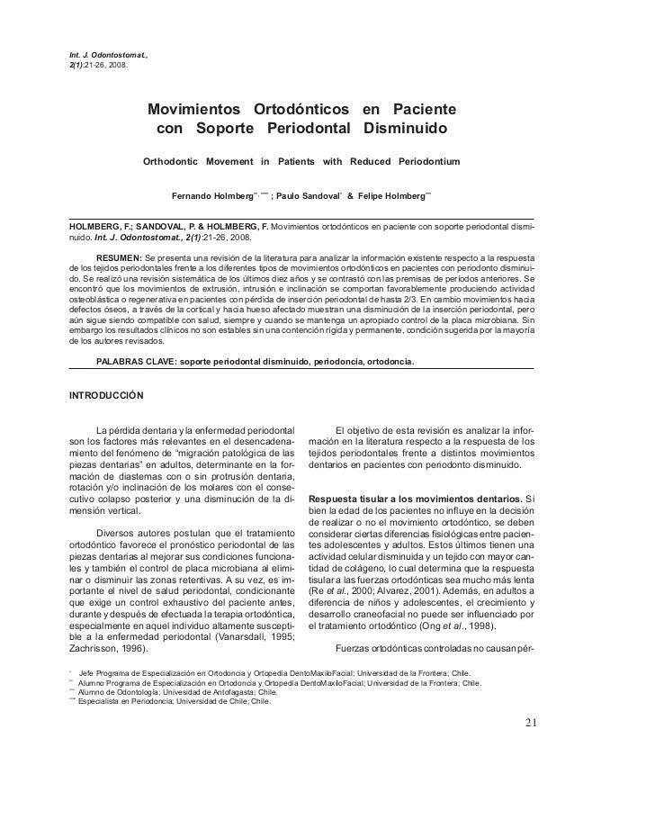 Int. J. Odontostomat.,2(1):21-26, 2008.                      Movimientos Ortodónticos en Paciente                       co...