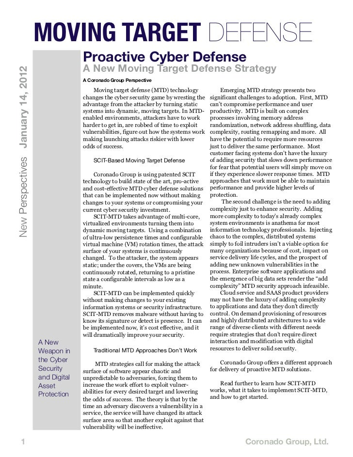 MOVING TARGET DEFENSE                                                  Proactive Cyber Defense                            ...