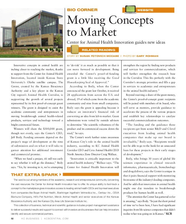 Moving Concepts to Market / KC Business bio corner-March 2012