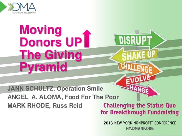 Moving Donors UP The Giving Pyramid JANN SCHULTZ, Operation Smile ANGEL A. ALOMA, Food For The Poor MARK RHODE, Russ Reid