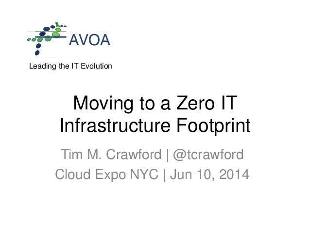 Leading the IT Evolution Moving to a Zero IT Infrastructure Footprint Tim M. Crawford | @tcrawford Cloud Expo NYC | Jun 10...
