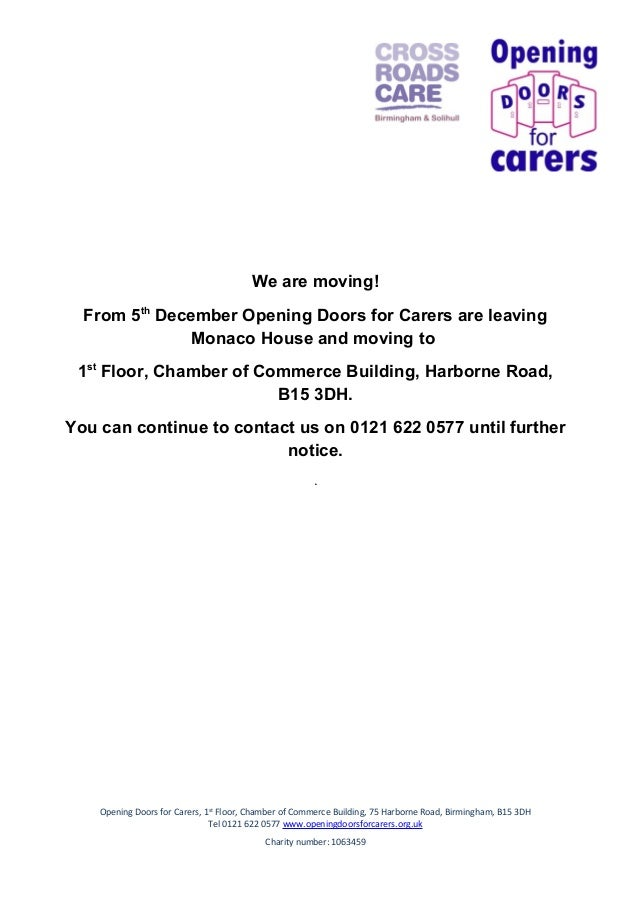 We are moving! From 5th December Opening Doors for Carers are leaving Monaco House and moving to 1st Floor, Chamber of Com...