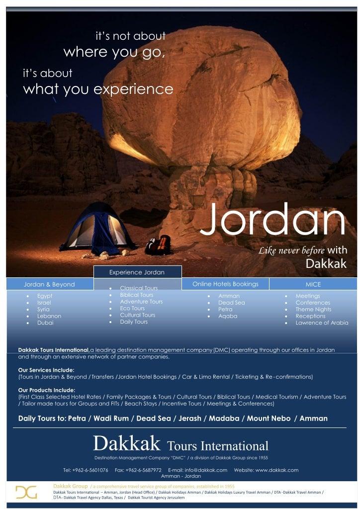 Visit the Kingdom of Jordan - Dakkak Tours International